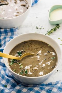 This Creamy Mushroom Soup is made from scratch and uses very little ingredients to make an amazing soup! It's loaded with divine creamy flavour!