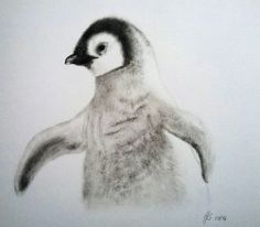 Pinguin Trockenpinsel, dry brush