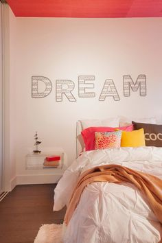 Choose a on-trend color for the ceiling of your bedroom, and blankets for your bed too. Get more bedroom color inspiration here >> http://blog.diynetwork.com/maderemade/2015/07/30/cozy-up-get-bedroom-color-inspiration-for-2015/?soc=pinterest