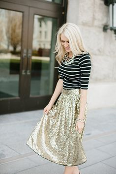 Sequin A-Line Swing Skirt - I want this for Christmas @djjohnson57