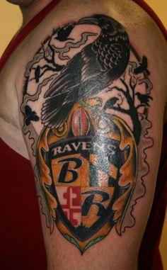 Baltimore Raven Bird Tattoo | Mike's Portfolio | Charmed Life Gallery Fan Tattoo, Epic Tattoo, Alabama Tattoos, Girl Tattoos, Tatoos, Raven Bird, Cool Tats, Nfl Fans, Baltimore Ravens