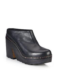 Rag & Bone Esme Studded Leather Platform Clogs - Black - Size 39.5 (9.
