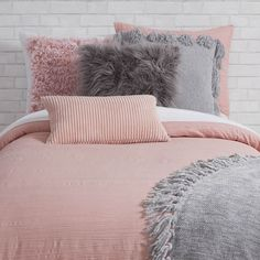 Netflix and chill. This muted, throw pillow is insanely soft and perfect for cozying up on the couch or in your bed. Bedroom Decor Grey Pink, Blush Pink And Grey Bedroom, Peach Bedroom, Pink Bedrooms, Pink Room, Girls Bedroom, Bedroom Bed, Bed Room, Room Ideas Bedroom