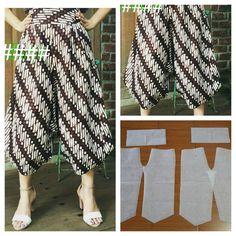 62 Ideas sewing patterns trousers women for 2019 Sewing Dress, Sewing Pants, Sewing Clothes, Kulot Batik, Batik Dress, Batik Fashion, Diy Fashion, Cullotes Pants, Dress Making Patterns