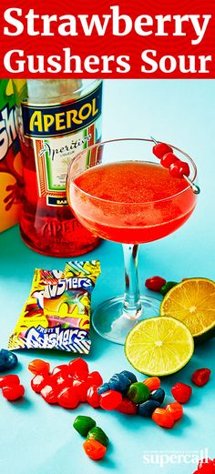 Inspired by these iconic candies from our childhoods, we adapted the original strawberry flavor into a sophisticated red sour cocktail, served in a coupe and garnished with a skewer of Gushers—a la Martini olives.