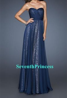 Hmmmm~ Chiffon Over Sequin Bridesmaid Dress, Long Sequin Prom Dress, Sweetheart Bridesmaid Dress, Navy Blue Bridesmaid Dress on Etsy, $107.00
