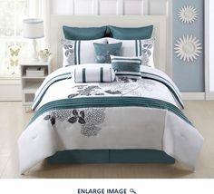 9 Piece Cal King Aqua Bloom 100% Cotton Comforter Set
