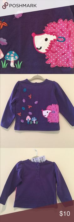 NWT - Purple Long-Sleeve Top for Fall NWT - Never tried on. Perfect for Fall! This super cute purple top had an adorable hedgehog, mushrooms, and falling leaves. JoJo Maman Bebe Shirts & Tops Tees - Long Sleeve