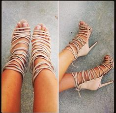 Spring/Summer 2015 Most Sultry: Lace Up Heels: Caged Gladiator High-Heel Sandals :: Nude heels