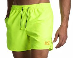 Bañadores hombre Armani - Amarillo Fluor Summer Shorts Outfits, Short Outfits, Men's Swimsuits, Swimwear, Armani Brand, Blackpink Fashion, Sport Wear, Swim Shorts, Outfits