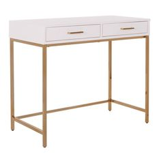 In honor of back to school, I thought I'd share some of my favorite office supplies and decor! As you can see, I love white and gold everything. Home Office Desks, Office Furniture, Furniture Movers, Urban Furniture, White Furniture, Furniture Ideas, Storage Drawers, Storage Spaces, Clean Desk