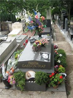 Edith Piaf grave in Pere LaChaise Cemetery in Paris, France