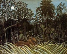 Douanier Rousseau - Art Naïf - Lion in the Jungle.