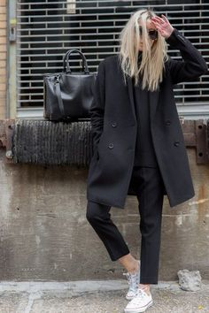 Black coat, polo-neck sweater, tailored cropped trousers & Converse on Figtny | @styleminimalism