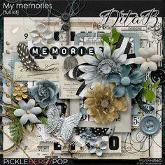 DitaB Designs:  NEWCOLLECTION MY MEMORIES individual packs ... My Memory, Word Art, Digital Scrapbooking, Overlays, Christmas Wreaths, Memories, Holiday Decor, Paper, Kit