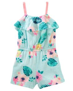 418faa06c7f7a Baby Girl Tropical Print Ruffle Romper from OshKosh B'gosh. Shop clothing  &