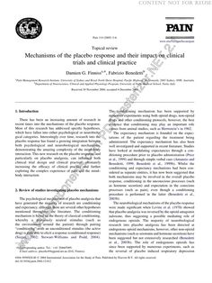 Mechanisms of the placebo response and their impact on clini... : PAIN