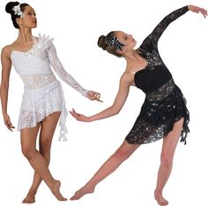 15527 & 15547 My Immortal (Black or White): Ballet Contemporary find appliqués like these for hair and top of leotard Duo Costumes, Dance Costumes Lyrical, Ballet Costumes, Costume Ideas, Dance Outfits, Dance Dresses, White Leotard, Contemporary Dance Costumes, Mom Dress