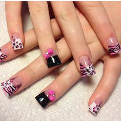 Animal Print Nails with bows