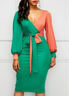 V Neck Belted Color Block Sheath Dress.