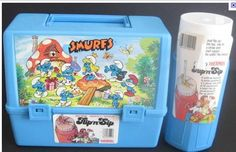 Smurfs lunchbox- did I have this? It looks very familiar.