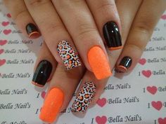 A splash of orange in a leopard nail art design. The black and orange combination on this nail art design is simply stunning. The alternating designs give more dimension and depth into the nails. (Orange Hair Tips) Cheetah Nail Designs, Leopard Nail Art, Orange Nail Designs, Cute Nail Art Designs, Acrylic Nail Designs, Acrylic Nails, Pink Cheetah Nails, Pretty Designs, Acrylics