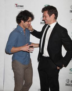 Darren Criss and Jonathan Groff attend the 'Gross Indecency: The Three Trials Of Oscar Wilde' after party at John Jay College on October 5, 2015 in New York City.