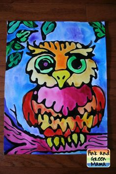 watercolor-owl-resist-make-your-own-black-glue-for-art-projects-Elmers-glue-paint-kid-crafts-pink-and-green-mama-blog