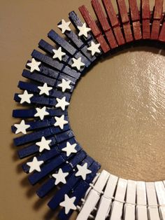 12 hand painted American flag clothes pin by WreathsbyJeanna, $35.00
