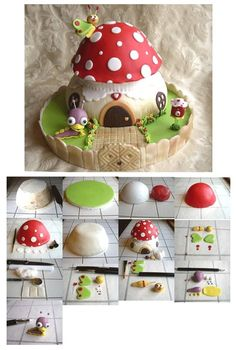 cute mushroom fairy house made from polymer clay