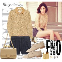 The neutral long sleeved lace shirt and dark denim look amazing together!