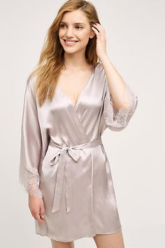Laced Silk Robe - The Prettiest Pastel Lingerie for Spring - Livingly Satin Lingerie, Lingerie Sleepwear, Nightwear, Silk Sleepwear, Satin Gown, Satin Dresses, Silk Bathrobe, Lace Silk, Lace Trim