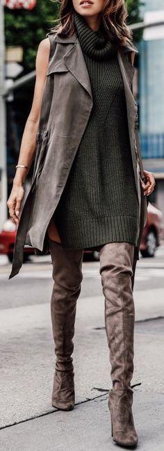 Sweater dress + OTK boots.                                                                                                                                                                                 More