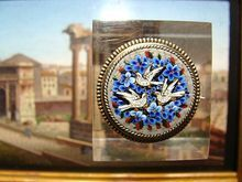 Antique Roman Micromosaic silver brooch with three white doves and blue flowers