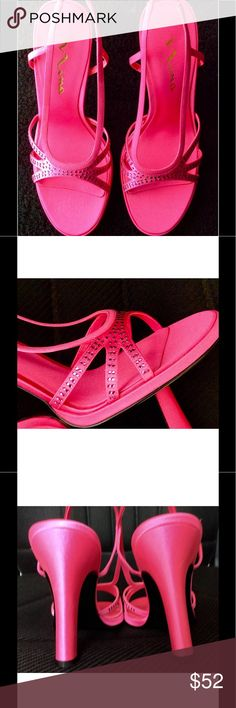 "NEW HOT PINK STRAP SANDALS WITH FACETED STONES New hot pink satin look high heel sandals. Faceted rhinestones. 4"" Heel Approximately Shoes Heels"