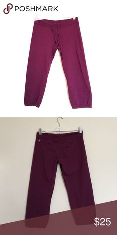 Fabletics plum purple drawstring crop joggers S Excellent condition. Sweater material, drawstring front with single back pocket. Elastic around the leg opening. Bundle to save 25%! Fabletics Pants Track Pants & Joggers