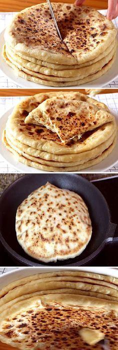 """Te chuparás los dedos con estos KHACHAPURI de QUESO """" By Recetas de Esbieta. #khachapuri #tortillas #queso #trigo #postre #receta #recipe #casero #torta #tartas #pastel #nestlecocina #bizcocho #bizcochuelo #tasty #cocina #cheesecake #helados #gelatina #gelato #budin #pudin #flanes #pan #masa #panfrances #panes #panettone #pantone #panetone #navidad #chocolate Si te gusta dinos HOLA y dale a Me Gusta MIREN... Vegan Pancake Recipes, Mexican Food Recipes, Vegetarian Recipes, Cooking Recipes, Crepe Recipes, Pan Bread, Love Food, Tapas, Food Porn"""