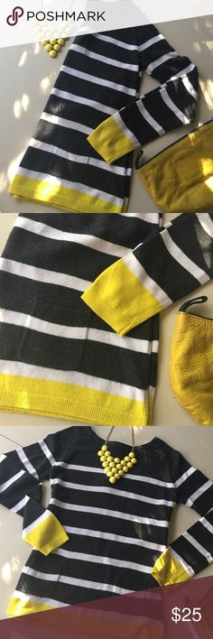 ✨Loft✨Charcoal + Yellow + White Striped Sweater ✨Loft✨Charcoal + Yellow +White Striped Sweater✨Size XS✨Scoop neck✨Two square front pockets✨Zippered back with ribbons✨ ✨Pre-loved with some pilling but still very cute✨Necklace available in separate listing but will bundle for excellent price!✨ LOFT Sweaters Crew & Scoop Necks