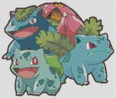 Pokemon Bulbasaur Evolutions (75 Colors) Cross Stitch Pattern