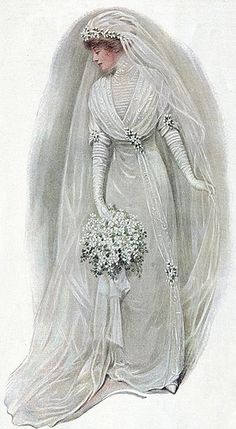 Le mariage en peinture et illustration – Balades comtoises – Herzlich willkommen Antique Wedding Dresses, Vintage Wedding Photos, Vintage Bridal, Vintage Weddings, Vintage Outfits, Vintage Dresses, Vintage Mode, Vintage Ladies, Edwardian Fashion