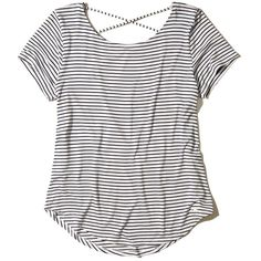 Hollister Must-Have Strappy Back T-Shirt (345 ARS) ❤ liked on Polyvore featuring tops, t-shirts, shirts, t shirt, white stripe, white shirts, striped tee, stripe tee, open back t shirt and curved hem t shirt