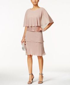 Mother of the Bride dress SL Fashions Sequined Lace Sheath Dress and Chiffon Capelet | macys.com