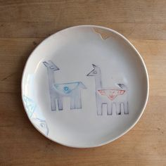 Hand stamped and colored with designs cut from paper then pressed into clay. Made from porcelain, sanded smooth exterior and clear gloss food safe glaze. this is a lunch, snack dessert plate. Llama Arts, Cute Llama, Llama Alpaca, Safe Food, Hand Stamped, Decorative Plates, Porcelain, Clay, Ceramics