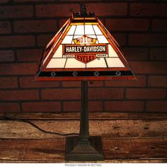 Harley Davidson Bar And Shield Tiffany Style Lamp   Game Room Decor    RetroPlanet.