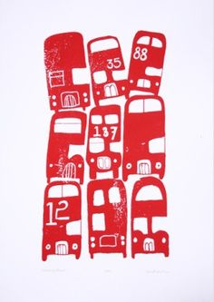 'stacking buses' by biroRobot cool illustration screen print or litho print of london bus Design Textile, Design Art, Print Design, Gravure Illustration, Illustration Art, Everybody's Darling, Red Bus, London Bus, Illustrations