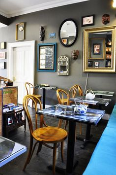 before & after: brian's nursery + joanne's tea room Coffee Shop Bliss hayley-in-transit… Cafe Interior, Shop Interior Design, Cafe Design, House Design, Interior Colors, Interior Ideas, Bentwood Chairs, Coffee Shop Design, Cool Cafe