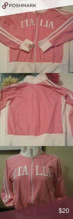 ITALIA BOMBER JACKET Pink and white light weight bomber style zip up top. Has side slit pockets. 95% cotton & 5% lycra, Made in Italy.  NWOT Tops Sweatshirts & Hoodies