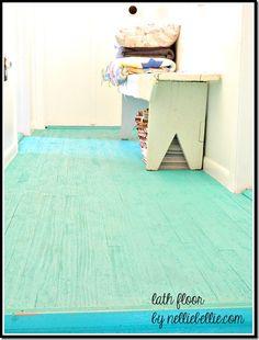 A diy idea for cheap flooring from NellieBellie. Lath floor tutorial