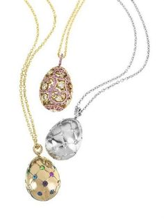 In addition to its recently launched Fabergé High Jewelry Egg Pendants , the jewelry house also unveiled a collection of smaller, less excl. High Jewelry, Jewelry Necklaces, Jewellery, Book Jewelry, Faberge Jewelry, Egg Art, Jewelry Collection, Fashion Jewelry, Bling