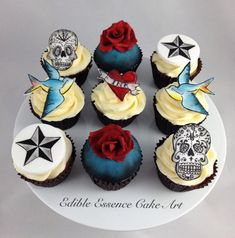 Hand painted Tattoo cupcakes - Cake by Edible Essence Cake Art